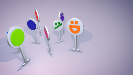 A babyish 3d illustration of happy icon figures standing and enjoying the life together cheerfully. They have bright blue, pink and green computer signs on their faces and look hilarious. 写真素材