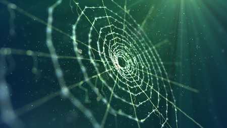 A mysterious 3d illustration of a spider web placed diagonally in the dark green background. It looks unusual and frightening like an entrance to some mystic fairy tale territory.