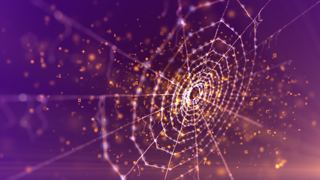 A mysterious 3d illustration of a spider net placed askew in the dark violet background. It looks magic and scary like an entrance to some ancient fairy tale area in flying sparkling spots Banco de Imagens