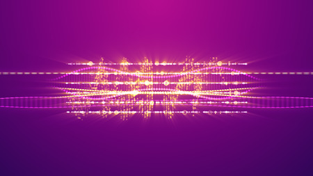 A stunning 3d illustration of shining zigzag musical spirals with two big golden notes. They are sparkling on the light violet background and create the spirit of fun, entertainment and mucial show.