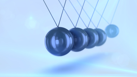 A stunning 3d illustration of black steel balls pendulum with waving diagonally beads beating each other in a light blue background with blurred spots. They look splendid, eternal and smart. Фото со стока