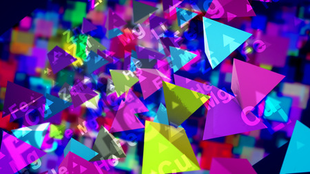 A hilarious 3d illustration of sparkling multicolored pyramids with the signs of chemical elements flying and playing in the black background. They generate the mood of joy, optinism and fun. Stockfoto