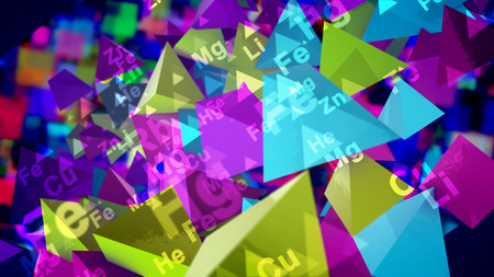 3d illustration of shining colorful pyramids with the signs of chemical elements spinning around in the black background. They generate the spirit of cheerfulness and scientific fun and inspiration. Stockfoto - 110031325