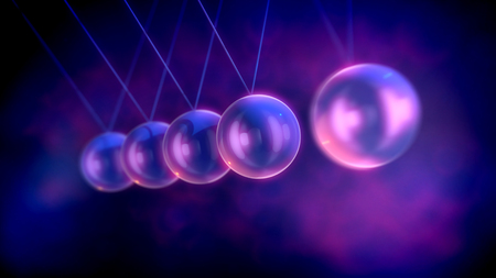 A meditative 3d illustration of steel beads pendulum with waving balls beating each other in a violet background with blurred and bright spots. They remind us that our life is not endless .
