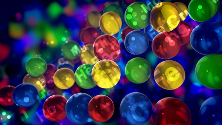 An amazing 3d illustration of transparent colorful balls with the symbols of chemical elements placed nearby soaring in the dark blue background in a jolly way. Stockfoto - 110031480