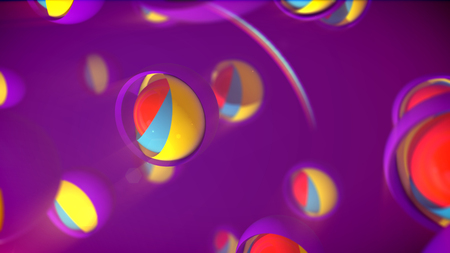 An innovative 3d illustration of nested camera objects of rainbow colors placed in large semi-spheres with shutters in the violet backdrop. They form the mood of happiness, innovation and joy.