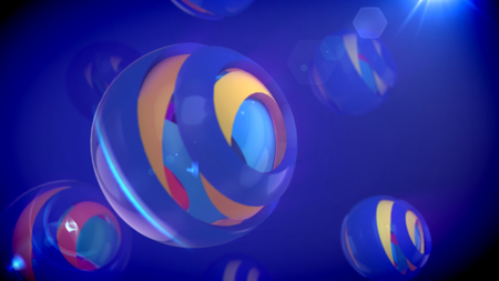 A cheery 3d illustration of nested eye-camera objects of rainbow colors placed in cup looking semi-spheres with splits in the blue backdrop. They create the mood of fun and optimism.