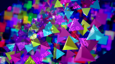 A striking 3d illustration of shining colorful pyramids with the symbols of chemical elements moving and flying in the black background. They create the mood of cheerfulness, optimism and fest. Stockfoto - 110031517
