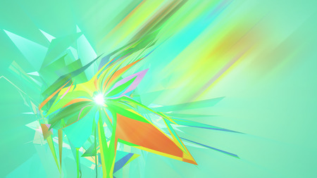 An arty 3d illustration of polygonal and multishaped triangles whirling around in the light green background. They create the mood of abstract art, big idea and fest. Stock Photo