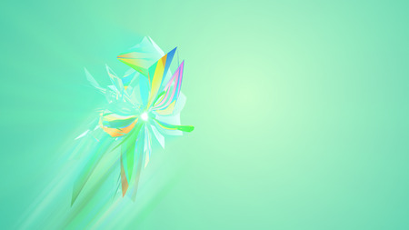 An opt art 3d illustration of polygonal and shining triangles spinning around like enigmatic creatures in the light green background. They form the mood of art and luxury Stock Photo