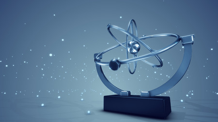 A holographic 3d illustration of a metallic pendulum swaying in three spheres in various directions with stars moving in the grey background. It looks sci-fi. Stock Photo