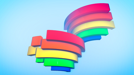 A hilarious 3d illustration of three rainbow arches placed diagonally in zigzag ways in the celeste background. They create the mood of optimism, spring and cheerfulness.