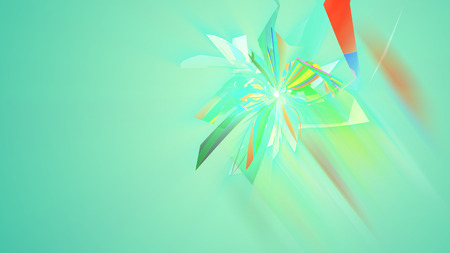 An arty 3d illustration of multishaped and colorful triangles forming multidimentional figures in the light green background. They generate the mood of abstract art and cheerfulness Stock Photo