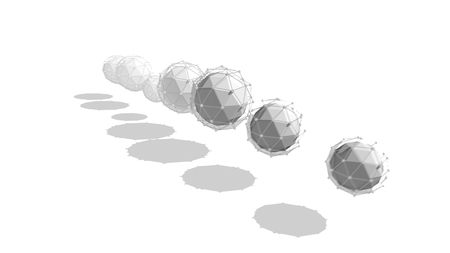 Stunning 3d illustration of seven multishaped spheres with nets placed in one straight line rotating around a central one and forming a stripe with shadows in the white background.