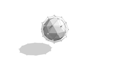 Cyber cosmos 3d illustration of a grey sphere covered with a network plexus in the white background with a slight shadow. It has a mesmerizing and psychedelic effect. It impresses with its graphics.