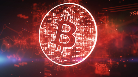 Gorgeous 3d illustration of a bitcoin sign put in a dazzling red circle with bright pixels in the dark red background with 796 and a meshwork with circles. It looks optimistic. Banco de Imagens