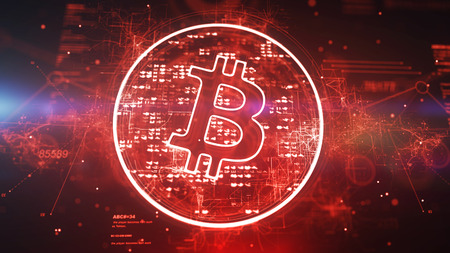 Optical art 3d illustration of a bitcoin sign put in a shining red circle and rotating slowly in the red background. It looks successful and optimistic inspiring for new crypto victories