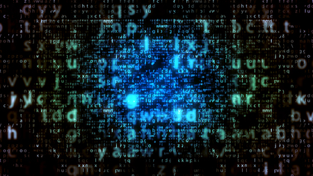 Sci-fi 3d illustration of glowing light blue matrix letters with plazma center in the black background. The screen with big and small letters looks innovative and optimistic.