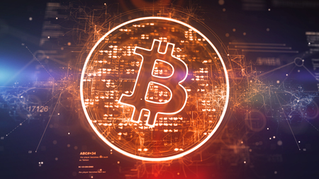 Crypto 3d illustration of a bitcoin symbol located askew in a sparkling golden circle full of pixels in the dark violet background. It looks innovative and optimistic.