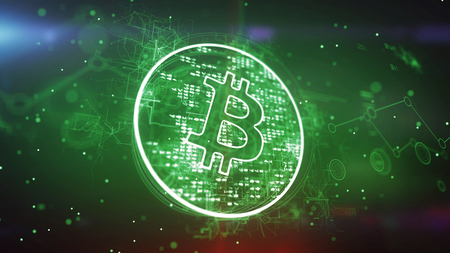 Artistic 3d illustration of a bitcoin symbol put in a shining circle and spinning slowly in the green background. It looks advanced and cheerful inspiring for new deals. Banco de Imagens