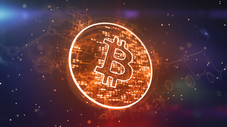 Optical art 3d illustration of a bitcoin sign located in a shining golden circle with pixelsn in the violet background. It looks advanced and optimistic inspiring for new business deals. Banco de Imagens