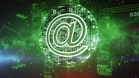 Advanced 3d illustration of a green mail symbol cpu with dazzling pixels put aslant in the dark green background. It has a holographic meshwork of zigzag stripes and numbers.