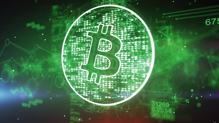 Holographic 3d illustration of a bitcoin symbol put in a shimmering circle with many bright pixels in the green background. It looks advanced, businesslike and optimistic. Banco de Imagens