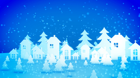 Cheery 3d illustration of Christmas paper houses and fir trees standing under heavy snow storm from lovely snowflakes. They create the mood of celebration, fun and fest.