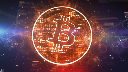 Splendid 3d illustration of a golden bitcoin symbol located askew in a plazma circle with radiant pixels in the dark violet background with a meshwork and nebulas. It looks innovative. Banco de Imagens