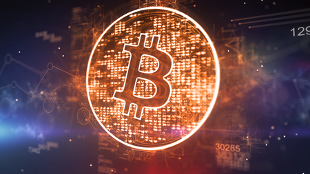 Wonderful 3d illustration of a bitcoin symbol located aslant in a dazzling golden circle with 129 and bright pixels in the dark violet background. It looks cheery and ambitious.
