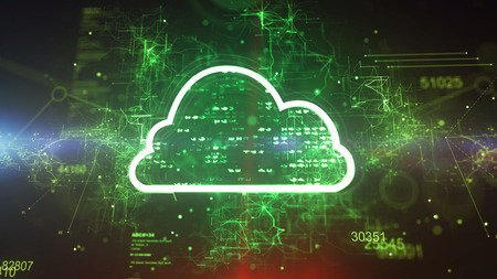 Volumetric 3d illustration of a cyberspace cloud cpu with shining pixels in the green background. It has a shimmering meshwork of crisscross and straight stripes.