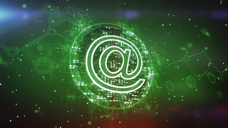 Stunning 3d illustration of a green at symbol cpu with sparkling pixels put aslant in the dark green background. It has a cheerful meshwork of zigzag stripes and blurs.