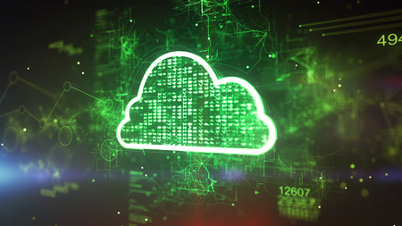 Graphic 3d illustration of a cyberspace cloud cpu with sparkling pixels in the green background. It has 494 and a shimmering meshwork of zigzag and curvy stripes. Stock Photo