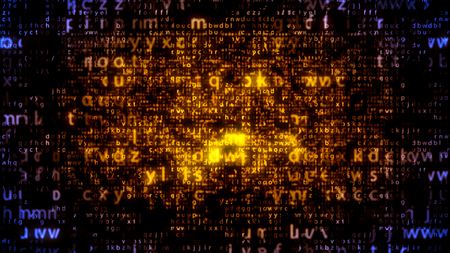 Astonishing 3d illustration of sparkling yellow and celeste matrix letters moving down in the dark blue and black background. The screen looks sci-fi, cheerful and modern.