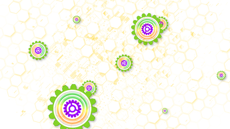 Optimistic 3d illustration of cyber security cogwheels of light brown, green and violet colors in the white background. They soar and spin shaping the mood of joy and innovation. Banco de Imagens