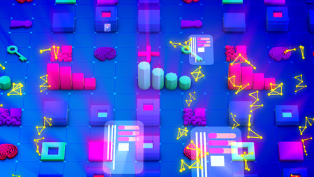 Artistic 3d illustration of multicolored bar graphs, stripes of squares, long keys, large pluses, yellow triangulars and flat pc chips in the blue backdrop. They look childish.