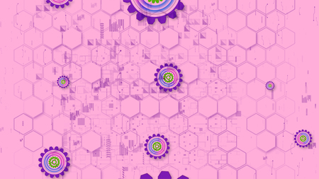 Kiddy 3d illustration of cyber security cogwheels of light green, rosy and violet colors in the pink background from hexagons. They look childish and cheerful.