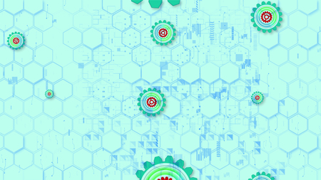Optimistic 3d illustration of cyber security cogwheels of celeste, purple and green colors in the light blue background from hexagons, brackets and squares. They look fine.