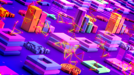 Jolly 3d illustration of colorful bar graphs, lines of squares, lengthy keys, large pluses, square mazes, and bright golden triangulars in the violet background. It looks optimistic.
