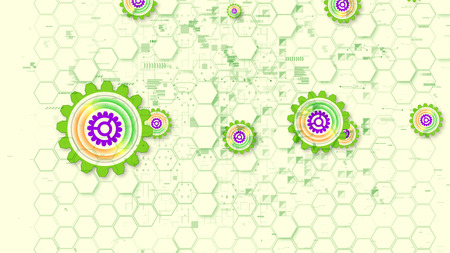 Cheerful 3d illustration of multishaped cyber security gear wheels of light green, yellow and violet colors in the white background. They shape the mood of optimism.