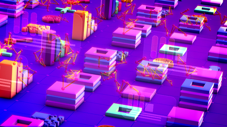 Exciting 3d illustration of multicolored bar graphs, rows of squares, long keys, large pluses and entangled triangulars in the blue backdrop. They generate the spirit of high technology.
