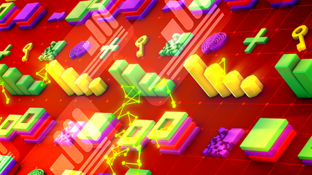 Funny 3d illustration of colorful bar graphs, lines of squares, lengthy keys, large pluses, square mazes, and bright golden triangulars in the red background. It looks cheerful Banco de Imagens
