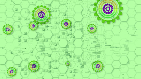 Magnificent 3d illustration of cyber security cogwheels of salad, violet and yellow colors in the light green background from hexagons, triangles and brackets. They look cheery.