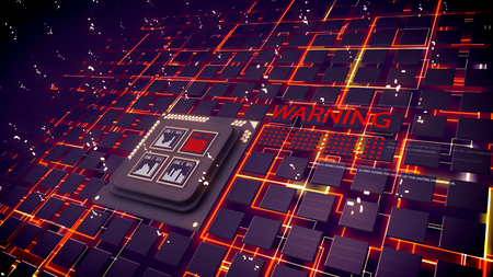 Holographic 3d rendering of CPU squares with playing bar charts and flying dots. Cubic devices are connected with orange communicative lines and allarming sign in the black backdrop. Stok Fotoğraf