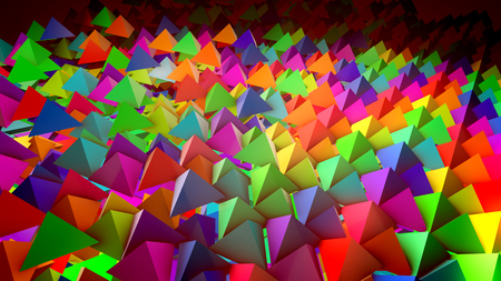 Cheerful 3d illustration of multicolored pyramids located on a flat surface horizontally in straight and long rows with their sharp tops aimed up. It looks wonderful, childish and hilarious.