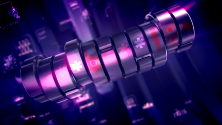 Cheerful 3d illustration of a crankshaft looking metallic password piston with six-angled stars, digits, words and charts in the violet background. It looks hi-tech, innovative and fine.