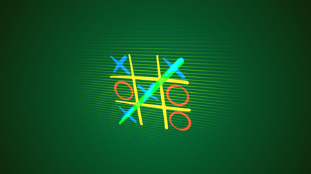 Impressive 3d illustration of a tic tac toe game with a white grid, pink and celeste marks, a winning diagonal end and a long line in the green background. It looks cheery Stok Fotoğraf