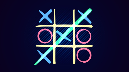 Cheerful 3d illustration of a noughts and crosses play with a white grid, pink and celeste figures, a winning diagonal end and a line in the blue background. It looks funny ond interesting.