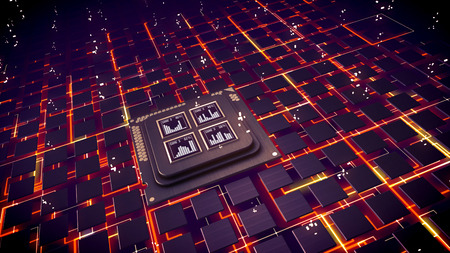 Advanced 3d illustration of CPU squares with bar charts glittering inside. Many cubic devices are linked with orange communication links sparkling in the black background.