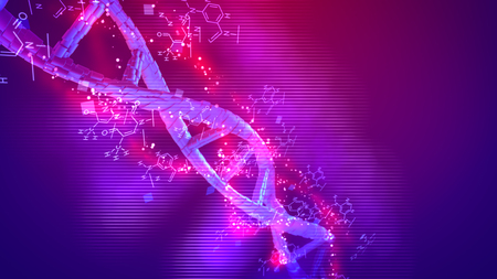 Cyberspace 3d illustration of a spiral looking DNA twisting around its shaft in the pink and purple background placed askew. Scientific formulas are rotating optimistically.